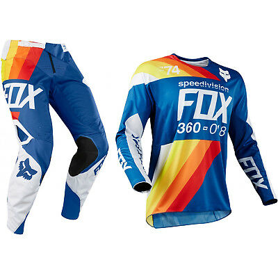 Fox Racing 360 Motocross MX Set Hose Trikot - Draftr Blau
