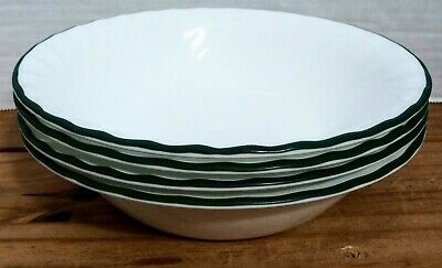 Corelle  Callaway Ivy  White Swirl Green Trim  4 Soup/Cereal Bowls