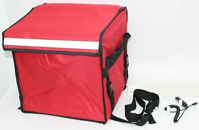 45L Red Food Delivery Temperature Controlled Heat Pad Bag w/Car Charger NEW