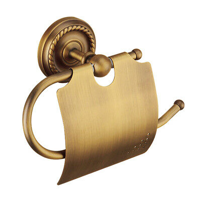 European Style Brushed Brass Toilet Paper Holder Wall Mounted Vintage Tissue Box