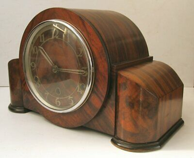 Vintage Walnut British Made Westminster Chimes Mantel Clock & Key
