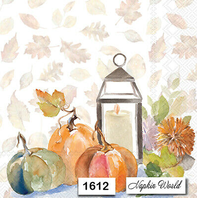 (1612) TWO Individual Paper Luncheon Decoupage Napkins - AUTUMN PUMPKINS LANTERN