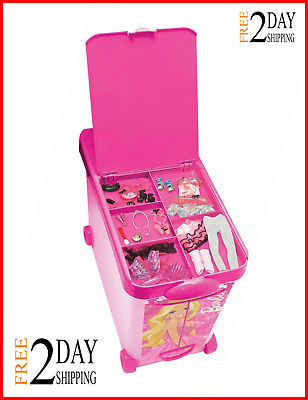 Barbie Store It All Storage Case for Dolls Accessories Pink Carry Box New