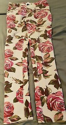 Girls White & Hot Pink Floral Print Jegging [The Children's Place] Size 8