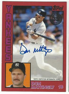 2019 Topps Baseball Don Mattingly Signed on Card Auto Red /25 1984 Rookie 35th