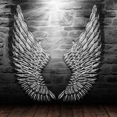100 cm Large Antique Silver Angel Wings Iron Wall Mounted Hanging Home Decor AU