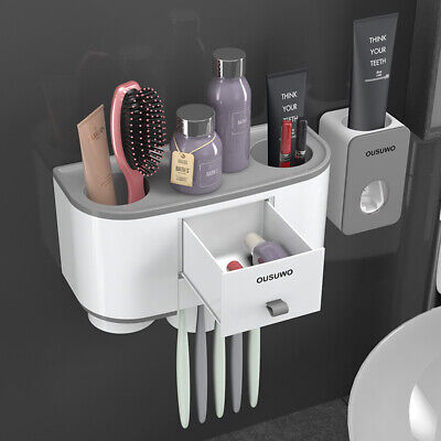 Magnetic Toothbrush Toothpaste Tumbler Holder Bathroom Shelf Rack Organiser US