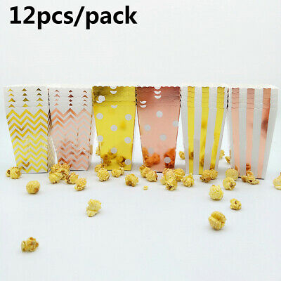 10/12X Rose Gold Popcorn Box Candy Case Paper Bag Theme Party Movie Supplies UK