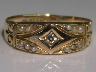 AN EXQUISITE ANTIQUE VICTORIAN 15ct SOLID GOLD DIAMOND & PEARL RING C1890 Size O