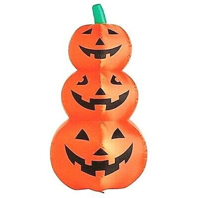 "48"" Inflatable 3 Stacked Lighted Happy Pumpkins (3 Lights) Outdoor HALLOWEEN"