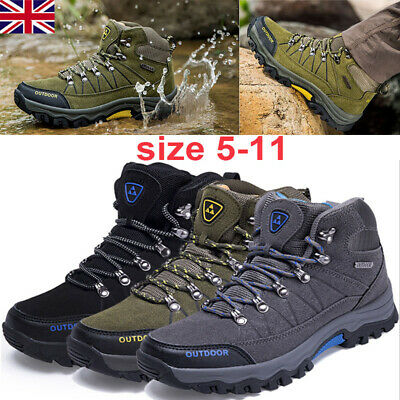 Men's Shoes Leather Walking High Top Hiking Waterproof Trainers Shoes Size 5-11