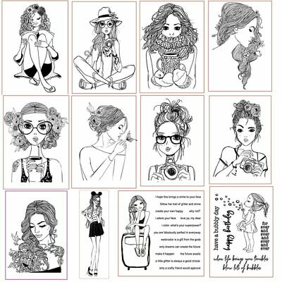 Girl Christmas Clear Stamps for DIY Scrapbooking Craft Cards Stempels Silicone