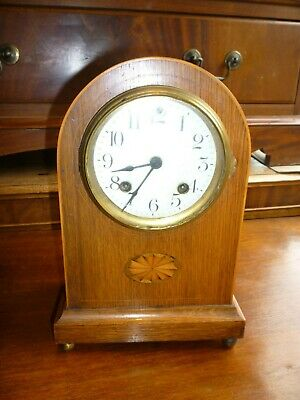 Very Pretty Inlaid Antique Ansonia Striking Mantle Clock Good Working Order