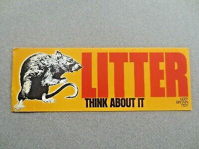 Vintage BOOKMARK Keep Britain Tidy Campaign RAT - LITTER Think About It