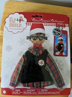 Elf on the Shelf - Claus Couture - Hip Holiday Wear - Plaid Sweater  & Glasses
