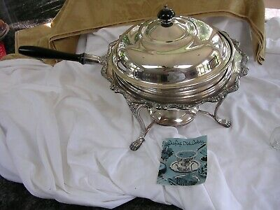 VINTAGE USA American Rose Wilcox  International Silver Co Chafing Dish W/warmer