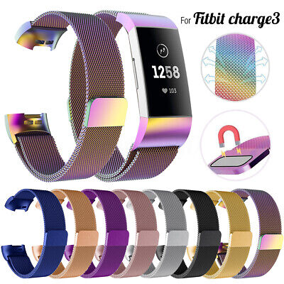 Milanese Replacement Strap Band Metal Stainless Steel Magnet For Fitbit Charge 3