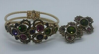 Vintage Juliana D&E for Sarah Coventry Clamper Bracelet Austrian Rhinestones Set