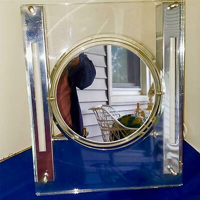 Mid Century Modern Rialto Lighted Lucite & Chrome Make Up Mirror Thick Lucite Ex