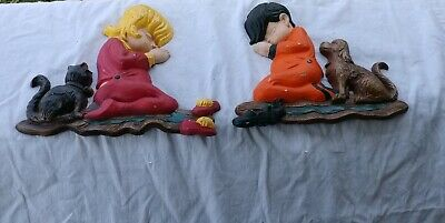 Vintage Sexton Praying Boy & Girl Dog & Cat Metal Wall Plaques 1972 USA