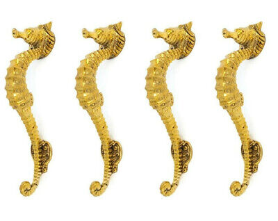 "4 small SEAHORSE solid 100% brass door polished old style PULL handle 10"" sea B"