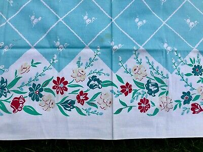 Vintage Made in America Simtex Tablecloth Light Blue X Multi Color Flowers