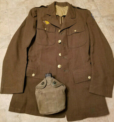 Vintage Ww2 Mens Us Army Military Brass Buttons Uniform Coat Jacket / Canteen