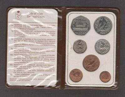 UNC 1982 ISLE OF MAN COIN SET - INC VIKING 50p (AC DIE MARK) - IoM MANX