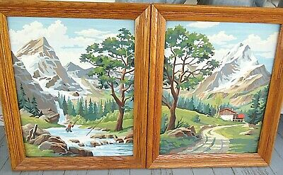 """2 vtg 16"""" x 20"""" Paint By Number oak framed Paintings mountains man fishing"""