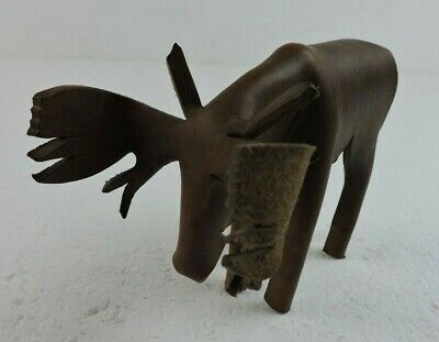 "Vintage Deru Style Leather Moose Figure Figurine Unique 4 1/2"" tall x 6"" long"