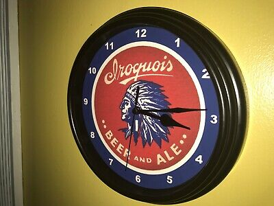 Iroquois Beer Bar Man Cave Advertising Black Wall Clock Sign
