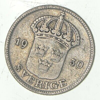 Roughly Size of Nickel - 1930 Sweden 50 Ore - World Silver Coin *049