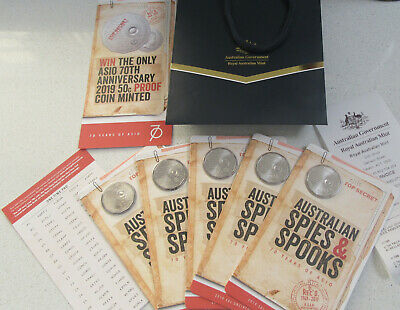 5 x 2019 ASIO 50c Unc Coins 70th anniversary spies spooks code pad + Receipt bag