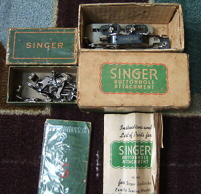 Boxed 1950's SINGER SEWING MACHINE BUTTONHOLE ATTACHMENT, PARTS, + 15-91 MANUAL