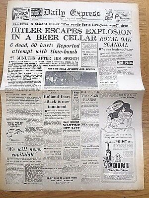 WW2 Newspaper Hitler Escapes Explosion Royal Oak November 9 1939 Daily Express