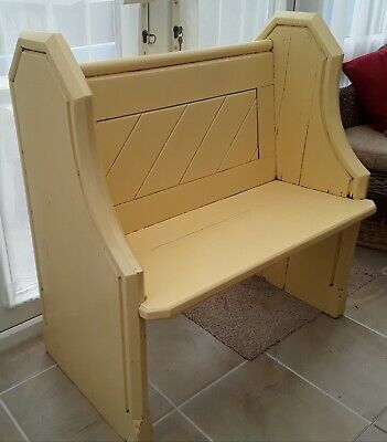 Small Victorian Pine Painted Pew. 85cm Wide. Antiqued Warm Cream Finish.