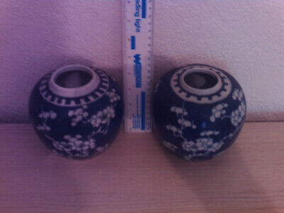 2 antique blue/white ginger jars with double ring mark