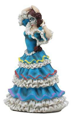 DOD Day of the Dead Mexican Halloween Lady Dancer in Blue Skirt Dress Figurine
