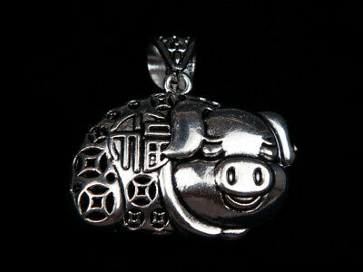 Tibetan Silver Highly Detail Crafted Pendant Rich Piggy Coins FU Bless #07221918