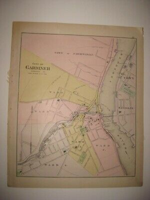 Fine Antique 1895 Gardiner Hallowell Waterville Winslow Maine Handcolored Map Nr