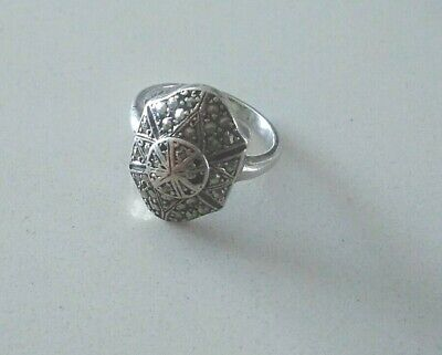 Art Deco Sterling Silver Marcasite Panel Ring Size O   Genuine Vintage 1920s 30s