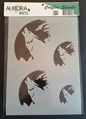 Howling Wolf against the Moon Stencil 350 micron Mylar not thin stuff #Wolf01