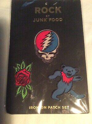 Grateful Dead NEW 3 Patches Rock Iron-On Junk Food Skull Rose Bear