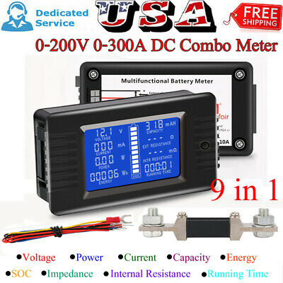 LCD Display DC Battery Monitor Meter 0-200V Volt Amp For Cars RV Solar System US
