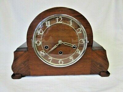 An Art Deco Walnut Quarter Chime Westminster Mantel Clock by Haller