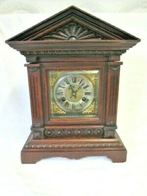 A Victorian Oak Chiming Mantel Clock by Junghans