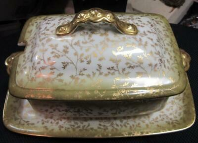 1900'S ELITE LIMOGES OBLONG GRAVY TUREEN with UNDERPLATE   GOLD BROCADE LEAVES