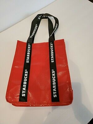 NWT Starbucks Holiday 2018 Reusable Red White Black Logo Tote Lunch Bag