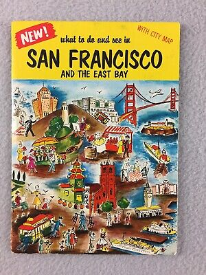 Vintage San Francisco And The East Bay Sightseeing Guide With City Map Souvenir