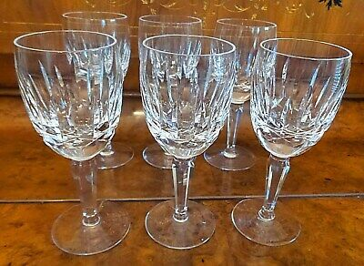 "6 (Lot) Waterford Crystal Kildare Claret White Wine Glasses 6 1/2""H"